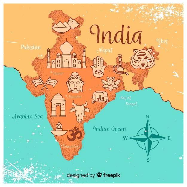 Hand gezeichnete karte von indien Premium Vektoren