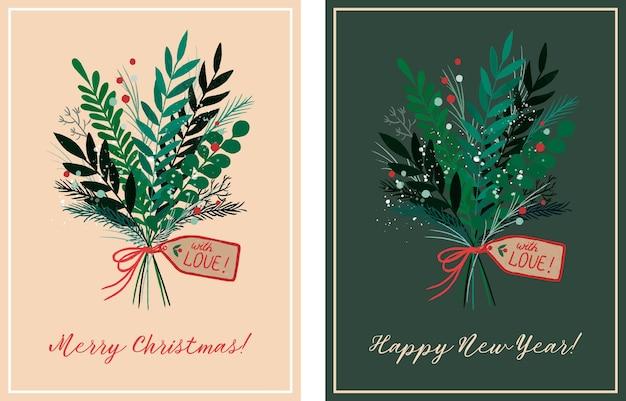 Hand gezeichnete karten für weihnachten mit blumenstrauß Premium Vektoren