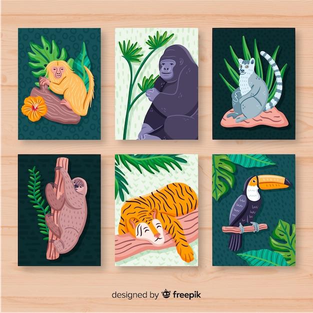 Hand gezeichnete kartensammlung des wilden tieres Kostenlosen Vektoren