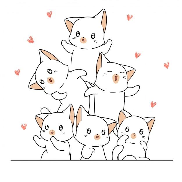 Hand gezeichnete kawaii katzencharaktere sind mit miniherzen glücklich Premium Vektoren