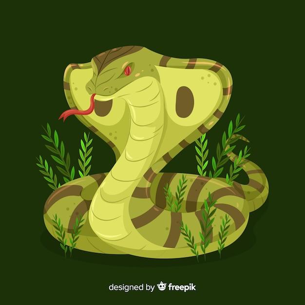 Hand gezeichnete kobra mit grashintergrund Kostenlosen Vektoren