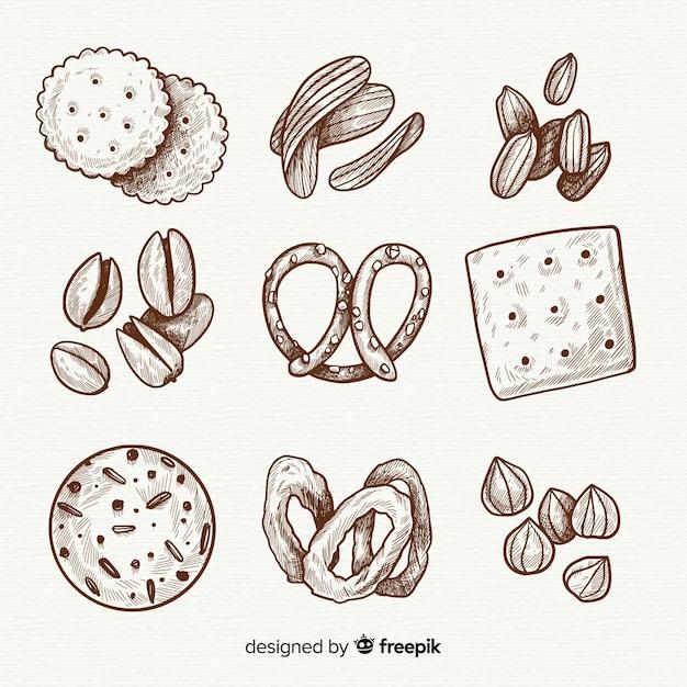 Hand gezeichnete köstliche snack-sammlung Kostenlosen Vektoren
