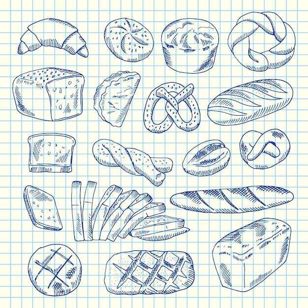 Hand gezeichnete konturierte bäckereielemente auf papierblatt Premium Vektoren