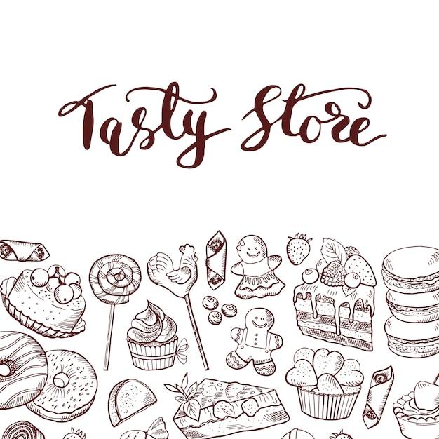 Hand gezeichnete konturierte süßigkeiten shop oder süßwaren-banner Premium Vektoren