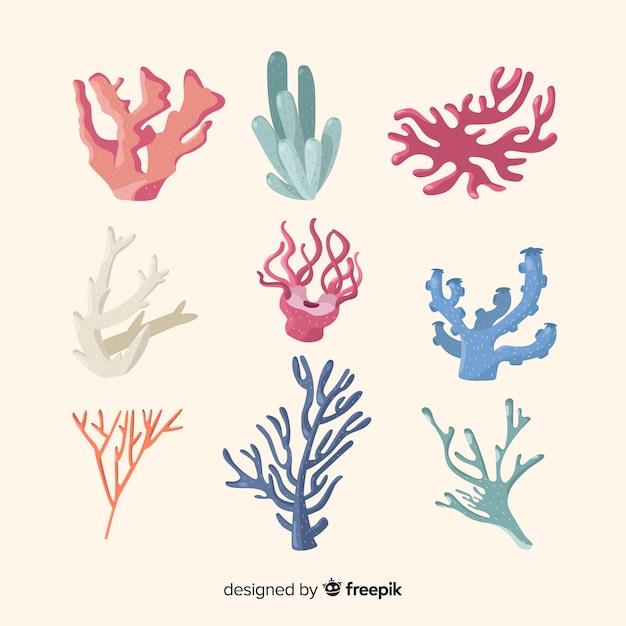 Hand gezeichnete korallensammlung Kostenlosen Vektoren