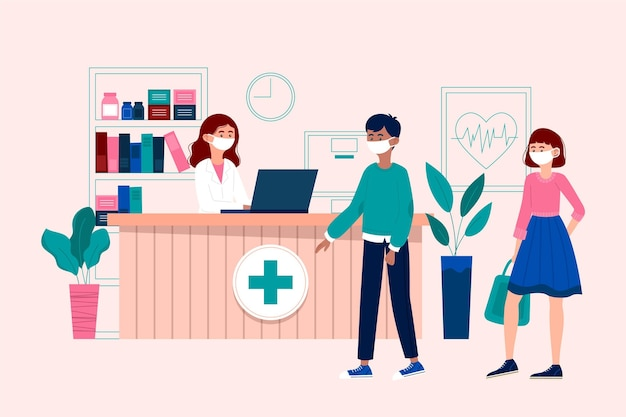 Hand gezeichnete krankenhausempfangsszene mit personen, die gesichtsmasken tragen Kostenlosen Vektoren