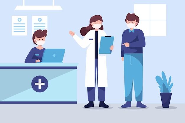 Hand gezeichnete krankenhausempfangsszene Kostenlosen Vektoren
