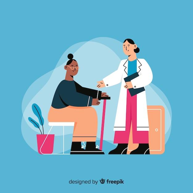 Hand gezeichnete krankenschwester, die um patienten sich kümmert Kostenlosen Vektoren