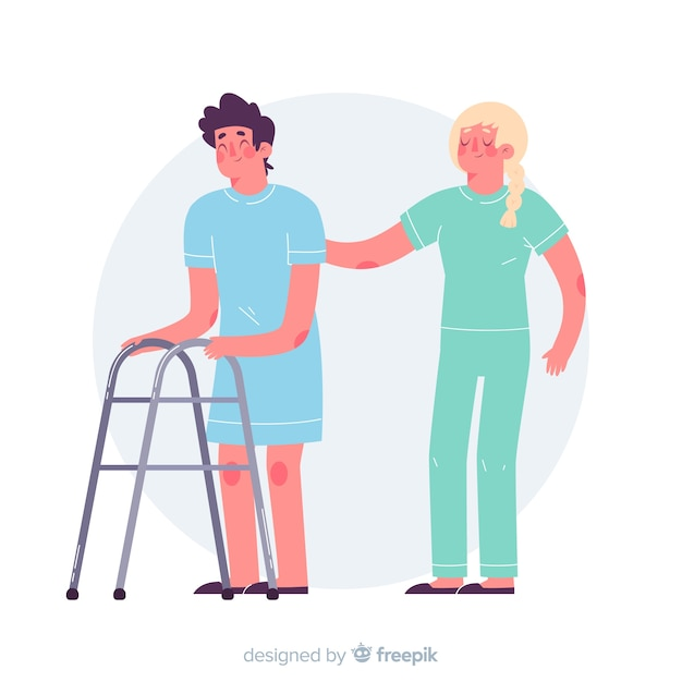Hand gezeichnete krankenschwester mit patienten Kostenlosen Vektoren