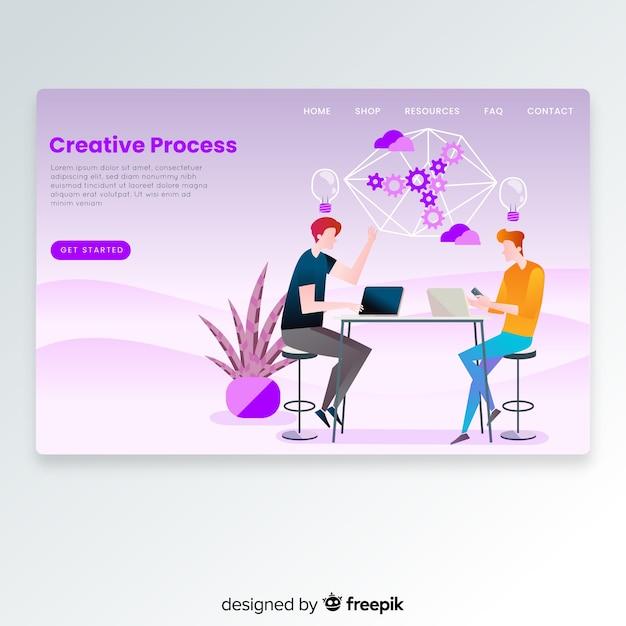Hand gezeichnete kreative prozesslandungsseite Kostenlosen Vektoren