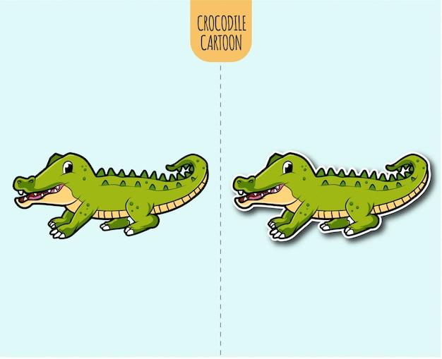 Hand gezeichnete krokodilkarikaturillustration mit aufkleberentwurfsoption Premium Vektoren