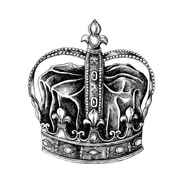Hand gezeichnete krone lokalisiert auf weißem hintergrund Kostenlosen Vektoren