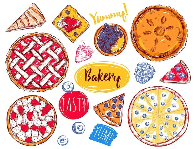 Hand gezeichnete kuchenscheibe kuchen elemente set Kostenlosen Vektoren