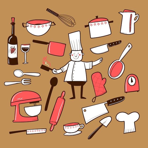 Hand gezeichnete küchenzubehörsammlung Premium Vektoren