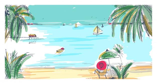Hand gezeichnete küstenlandschaft. tropisches resort mit liegestuhl und sonnenschirm, sandstrand, exotischen palmen und segelbooten, die im meer oder meer am horizont schwimmen. bunte realistische illustration. Premium Vektoren