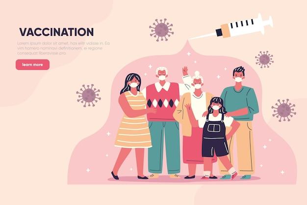 Hand gezeichnete landingpage des coronavirus-impfstoffs Kostenlosen Vektoren