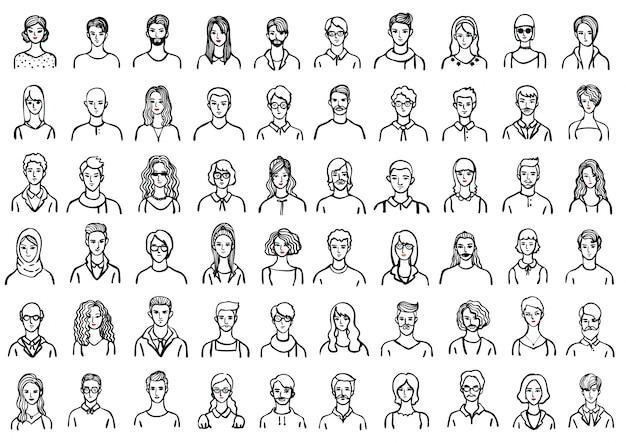 Hand gezeichnete Leute avatar Sammlung Kostenlose Vektoren