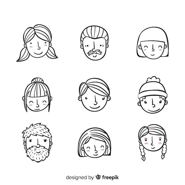 Hand gezeichnete leute-avatarasammlung Kostenlosen Vektoren