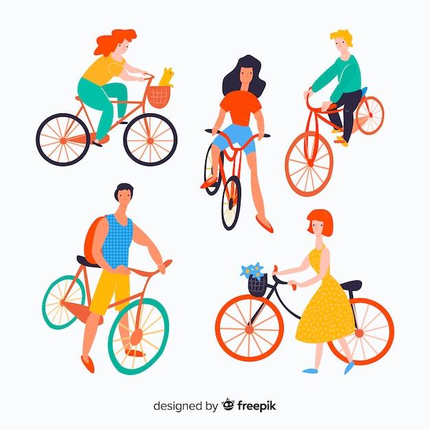 Hand gezeichnete leute, die ein fahrrad fahren Kostenlosen Vektoren