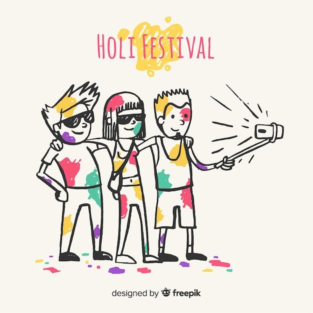 Hand gezeichnete leute, die holi festival feiern Kostenlosen Vektoren