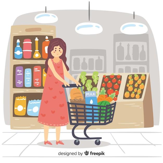Hand gezeichnete leute, die im supermarkt kaufen Kostenlosen Vektoren