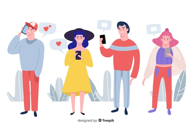 Hand gezeichnete leute, die smartphonesammlung verwenden Kostenlosen Vektoren