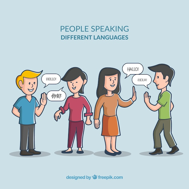 Hand gezeichnete leute, die verschiedene sprachen sprechen Kostenlosen Vektoren
