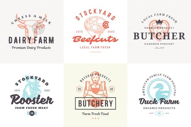 Hand gezeichnete logos und etiketten nutztiere mit moderner vintage typografie hand gezeichneten stil set vektor-illustration. Premium Vektoren