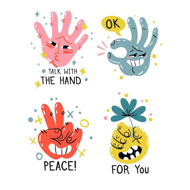 Hand gezeichnete lustige aufklebersammlung Kostenlosen Vektoren