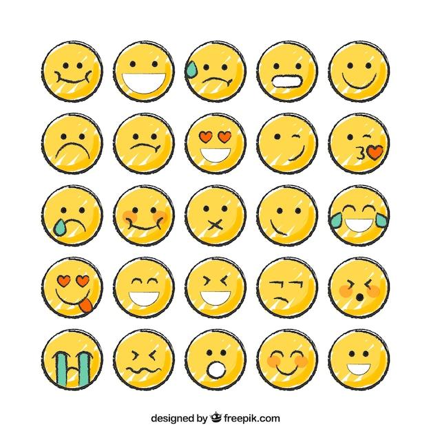 Hand gezeichnete lustige smiley-sammlung Kostenlosen Vektoren