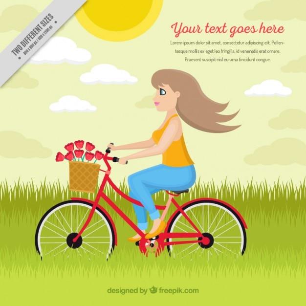 Hand gezeichnete mädchen auf einem fahrrad in der schönen landschaft Kostenlosen Vektoren