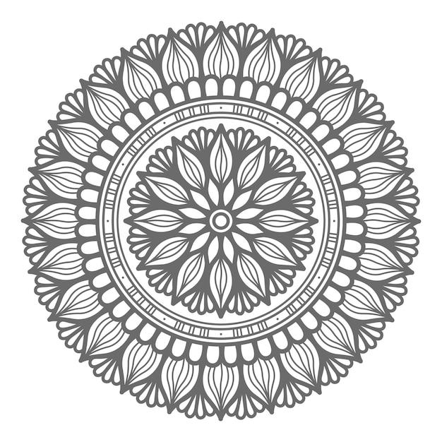 Hand gezeichnete mandalaillustration des umrissstils mit kreisstil Premium Vektoren