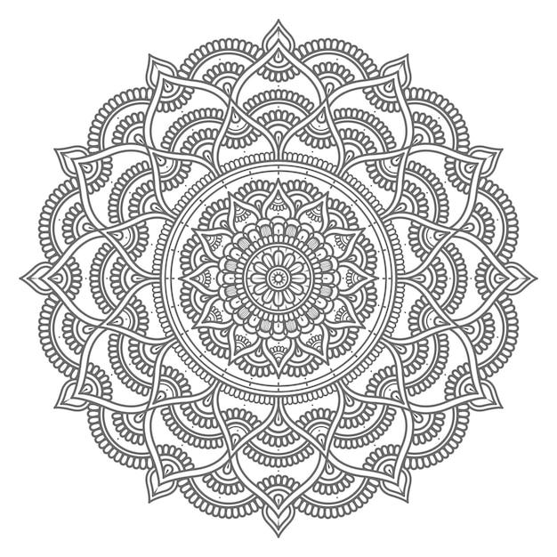 Hand gezeichnete mandalaillustration im kreisstil Premium Vektoren
