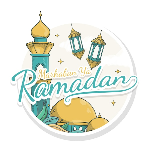 Hand gezeichnete marhaban ya ramadan aufkleberart Premium Vektoren