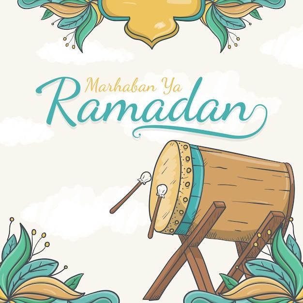 Hand gezeichnete marhaban ya ramadan-grußkarte mit islamischem ornament Premium Vektoren