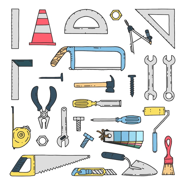 Hand gezeichnete mechanische bau-werkzeug-ikonen Premium Vektoren