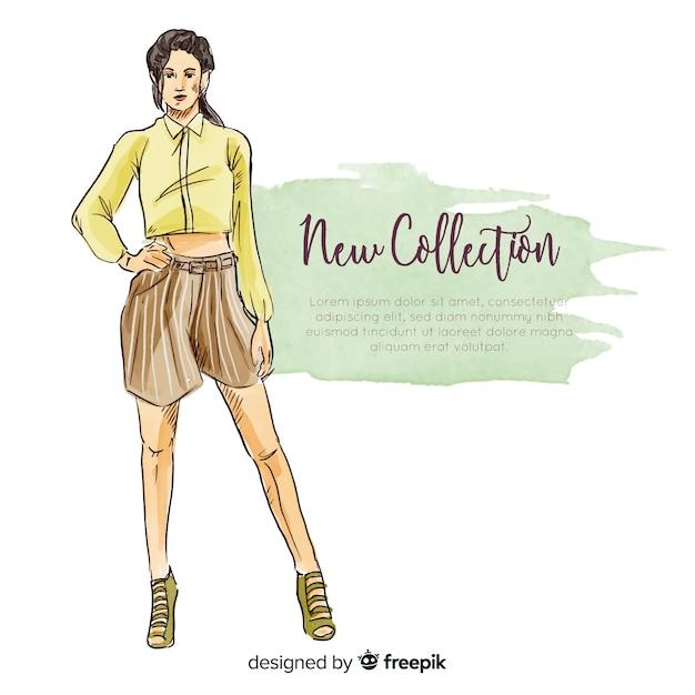 Hand gezeichnete modefrauenillustration Kostenlosen Vektoren