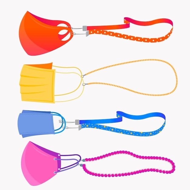 Hand gezeichnete modegesichtsmasken-lanyard-sammlung Kostenlosen Vektoren
