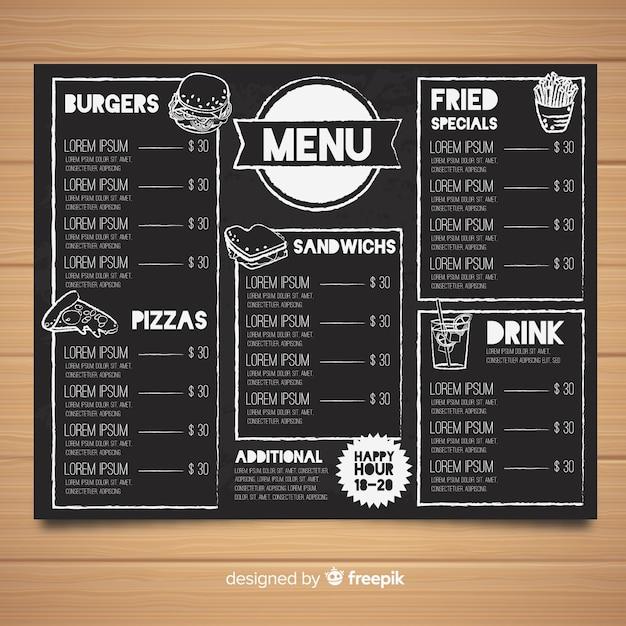 Hand gezeichnete moderne restaurantmenüschablone Kostenlosen Vektoren
