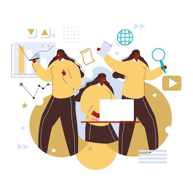 Hand gezeichnete multitask-geschäftsfrau Kostenlosen Vektoren