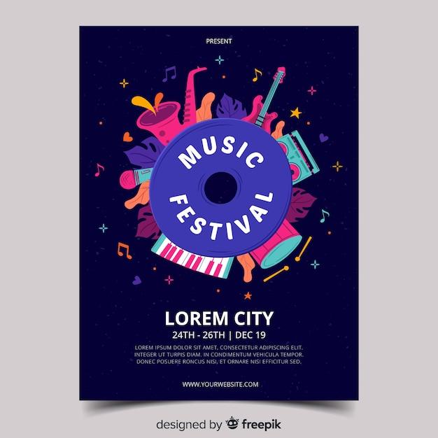 Hand gezeichnete musikfestival-plakatschablone Kostenlosen Vektoren