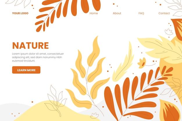 Hand gezeichnete naturlandungsseitenschablone Kostenlosen Vektoren