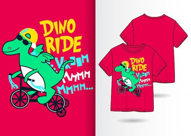 Hand gezeichnete nette dinosaurierillustration mit t-shirt design Premium Vektoren