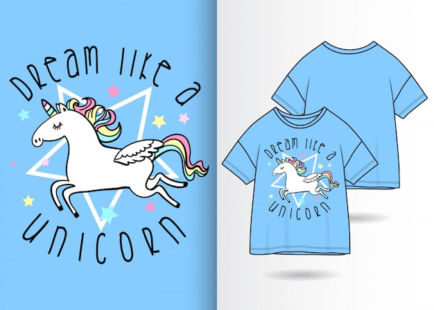 Hand gezeichnete nette einhornillustration mit t-shirt design Premium Vektoren