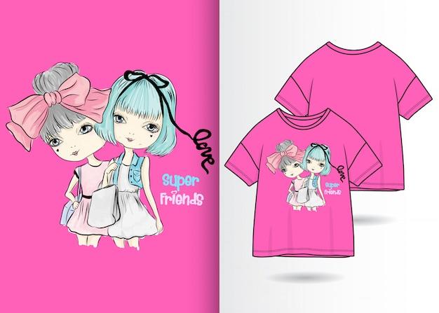 bc68354b8224a Hand gezeichnete nette mädchenillustration mit t-shirt design Premium  Vektoren