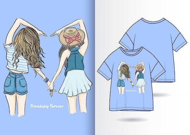 Hand gezeichnete nette mädchenillustration mit t-shirt design Premium Vektoren