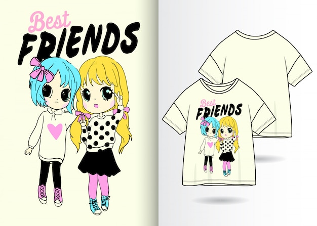 0d5996a543b65 Hand gezeichnete nette mädchenillustration mit t-shirt design ...