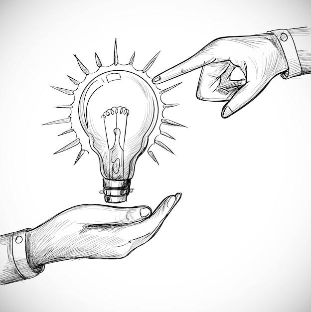 Hand gezeichnete neue idee innovation und lösungskonzepte glühbirne Kostenlosen Vektoren