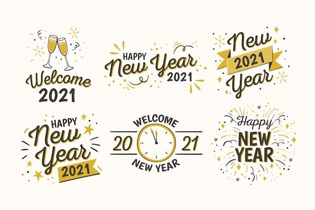 Hand gezeichnete neujahrsabzeichensammlung Premium Vektoren