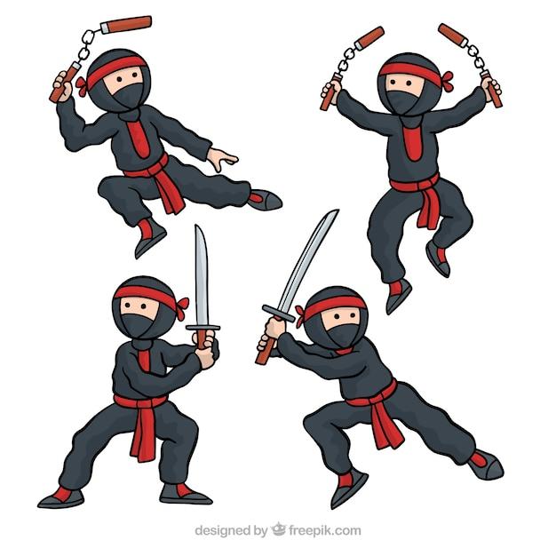 Hand gezeichnete ninja charakter sammlung Kostenlosen Vektoren